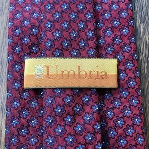 XMI Umbria Red & Blue Floral Woven Silk Tie